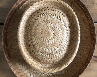 Vintage Handmade Amish Boys Woven Straw Hat
