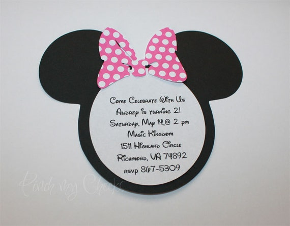 minnie mouse invitations with pink polka dot bow perfect for etsy