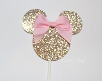 Pink and Gold Minnie Mouse Cupcake Toppers Cake Topper Girls 1st birthday Birthday Baby Shower Bridal Shower Pink and gold Birthday