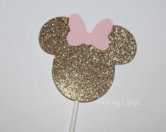 Pink and Gold Minnie Mouse Party Cupcake Toppers perfect for your Party Shower 12 Count