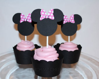 Minnie Mouse Party Cupcake Toppers with PINK POLKA DOT bow perfect for your Party Shower 12 Count