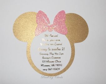 Pink and Gold Minnie Mouse Invitations Light Pink and Gold Foil Girls 1st birthday Birthday Baby Shower Bridal Shower Pink and gold Birthday