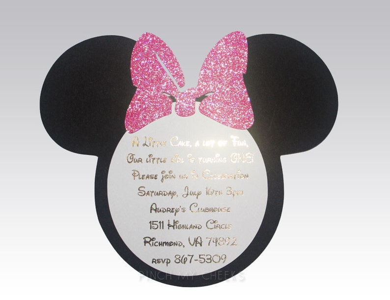 Minnie Mouse Invitations Hot Pink and Gold Foil Girls 1st birthday Birthday Baby Shower Bridal Shower Pink and gold Birthday Fast Shipping