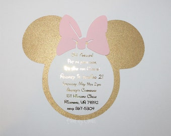 Minnie Mouse Invitations Light Pink and Gold Foil Girls 1st birthday Birthday Baby Shower Bridal Shower Pink and gold Birthday