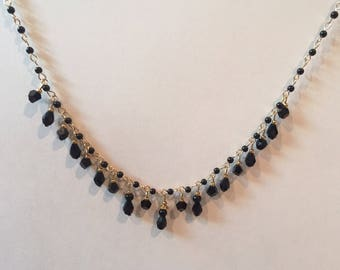 Sybil Crawley Downton Abbey Black Crystal and Gold Chain Necklace - Edwardian