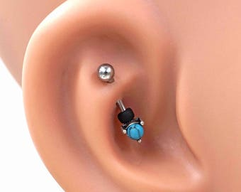 Turquoise Blue Prong Set Silver Rook Earring Daith Piercing Eyebrow Ring
