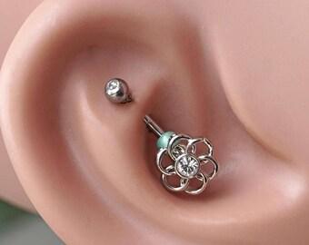 Geometric Flower Rook Earring Daith Piercing Eyebrow Ring