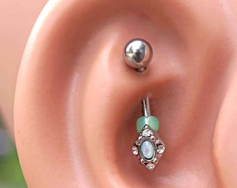 Teal Opal Diamond Silver Rook Earring Daith Piercing Eyebrow Ring