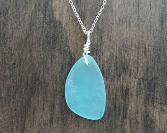 Aqua Light Blue Beach Glass Aromatherapy Necklace Essential Oil Diffuser Necklace