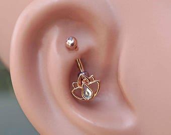 Lotus Flower 14kt Rose Gold Rook Earring Daith Piercing Eyebrow Ring
