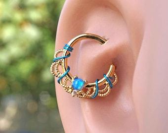 16 Gauge Blue Opal Gold Daith Rook Hoop Ring Daith Septum Hoop