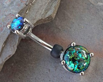 Black Opal Prong Set Silver Belly Button Ring