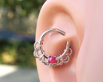 16 Gauge Red Opal Silver Daith Rook Hoop Ring Daith Septum Hoop