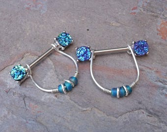 Blue Druzy Nipple Rings