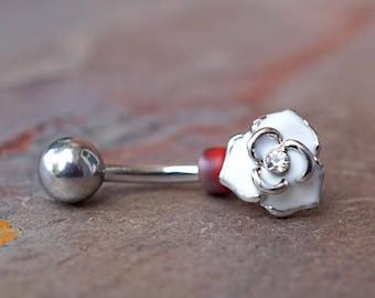 White Rose Rook Earring Daith Piercing Eyebrow Ring