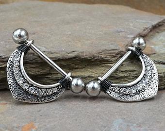 14g Silver Dusted Crystal Nipple Shield Ring Nipple Piercing