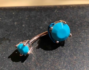 Turquoise Blue Prong Set Rose Gold Belly Button Ring
