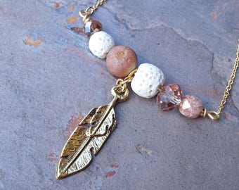 Feather Gold Aromatherapy Necklace Essential Oil Diffuser Necklace Lava Stone Druzy Necklace