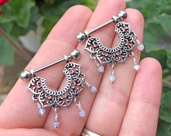 16g 14g Lotus Mandala Beaded Nipple Shield Ring Nipple Piercing