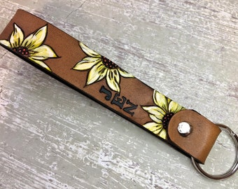 Cattle Drive Western Cowboy In the Loop Belt Clip Carabiner Leather Keychain