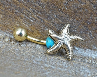 41c1ca2e49 Starfish Gold Belly Button Ring