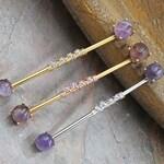14 gauge Amethyst Industrial Barbell Silver, Gold or Rose Gold
