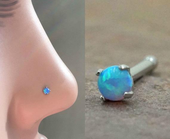 Natural Opal Nose Stud  Blue Opal Nose Stud