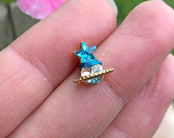 Sparkly Blue Star Saturn Stud Gold Cartilage Earring Helix Piercing 16g