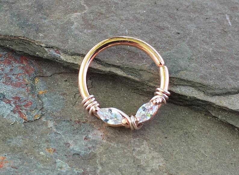 Rose Gold Septum Ring Rose Gold Daith Piercing Rook Earring image 0