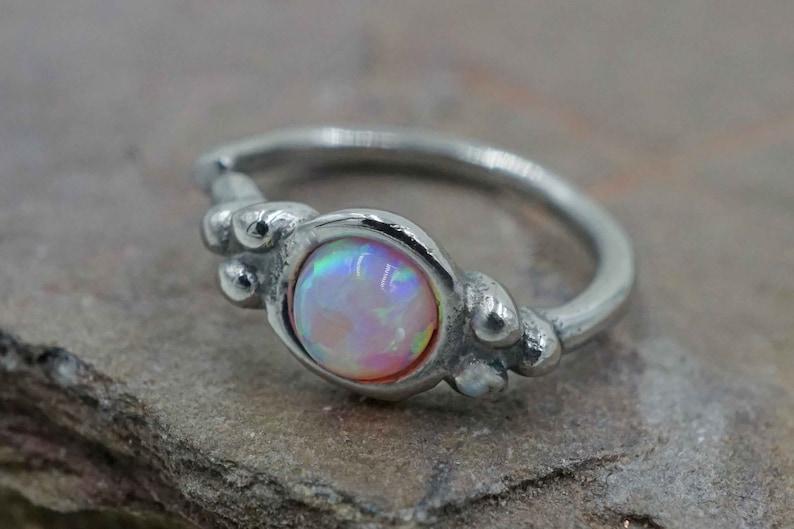 18g Pink Opal Nose Ring Rook Hoop Daith Hoop Cartilage Hoop Tragus Hoop