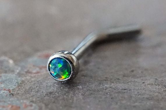 18g Black Opal Nose Ring L Bend 20g Opal Nose Stud Etsy