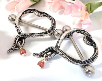 14g Silver Octopus Beaded Nipple Shield Ring Nipple Piercing