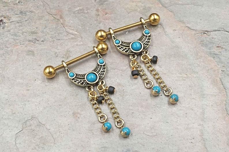 16g 14g Tribal Gold Nipple Hangers Nipple Shield Ring Nipple Piercing