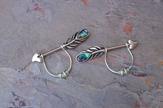 14g Pair of Turquoise aqua Peacock Feather ends Nipple bar rings