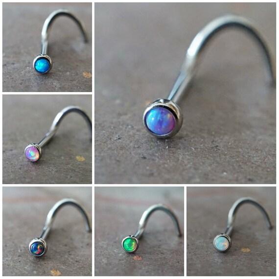 18g Black Opal Gold Nose Ring Opal Nose Screw