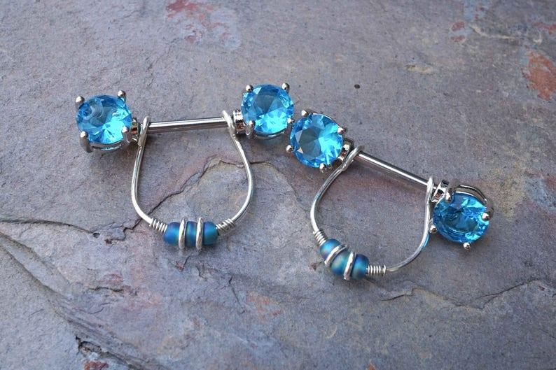Sparkly Blue Crystal Nipple Ring Nipple Piercing