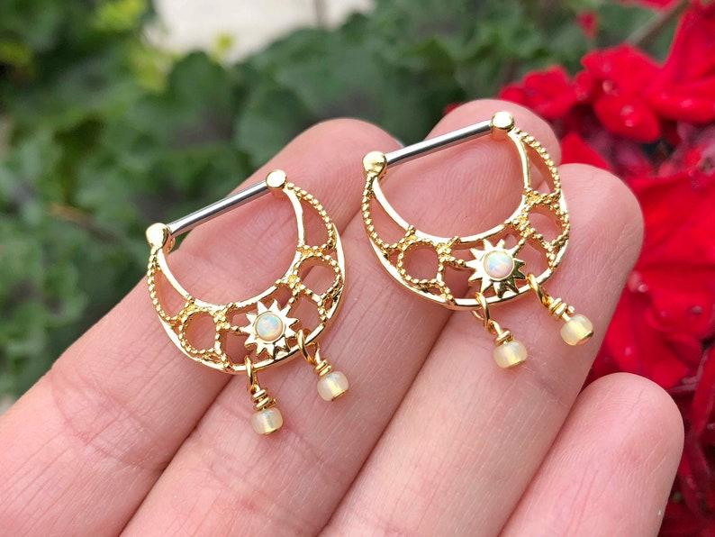 Opal Sunburst Gold Nipple Clicker Nipple Ring Nipple Piercing