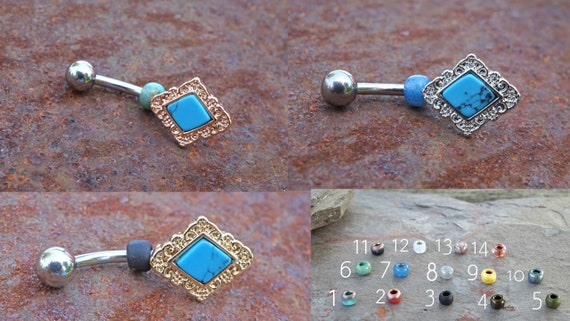 14G Blue Colorline Synthetic Opal Glitter Shower Belly Button Ring
