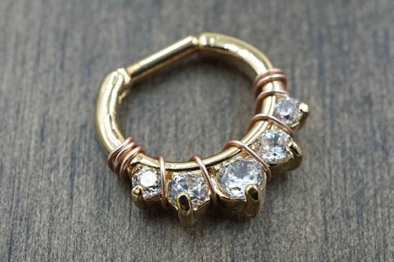 14 Gauge Gold Septum Ring Daith Hoop Clicker Bull Ring Nose Etsy