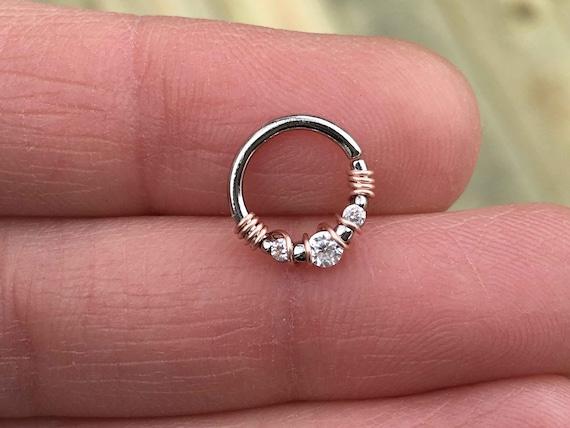 3 Crystal Septum Ring Silver Daith Piercing Rook Earring Hoop Etsy