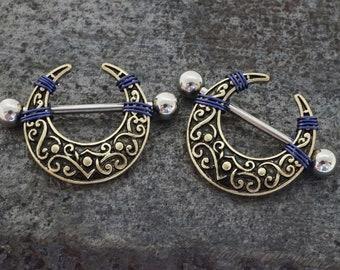Gold Filigree Crescent Moon Nipple Shield Ring Nipple Barbell