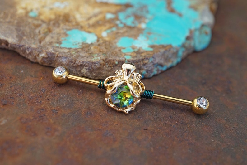 CZ Gold Octopus Industrial Barbell 14g or 16g