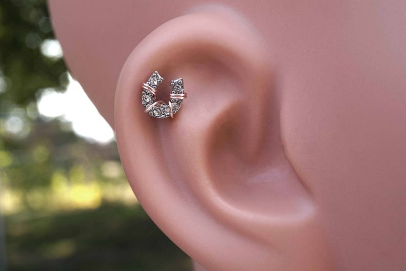Surgical Steel Ear Cartilage Jewelry Crystal With Ball Horseshoe
