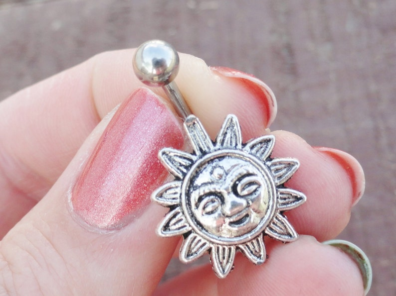 Celestial Sun Silver Belly Button Ring image 1