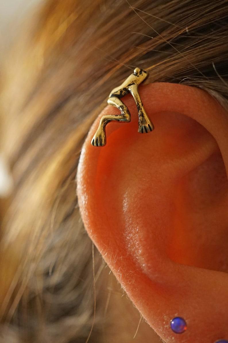 Gold Tree Frog Ear Cuff Jacket No Piercing Non Pierced image 0