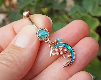Mother of Pearl Crescent Moon Stars Belly Button Ring Rose Gold