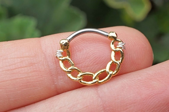 16 Gauge Chain Gold Daith Piercing Hoop Ring Daith Clicker Etsy