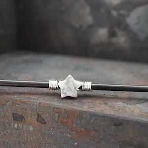 Blue Celestial Moon Industrial Barbell 14g Scaffold Aurora Borealis Crystal Star