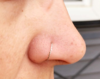 Silver Braided Nose Ring Hoop