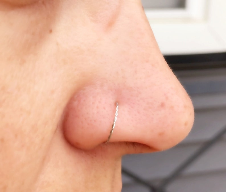 Silver Braided Nose Ring Hoop image 0